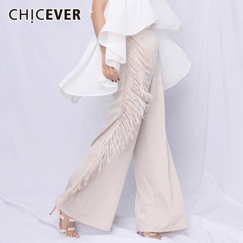 CHICEVER Tassel   Pants   For Women Patchwork High Waist Big Size Summer Maxi   Wide     Leg     Pants   2018 Elegant Fashion Female Clothes