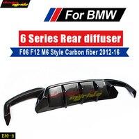 Fit For BMW F06 F12 F13 6 Series 640i 640d 650i 650d M6 Style High quality Carbon Fiber M Sport Rear Bumper Diffuser Lip 2012 16