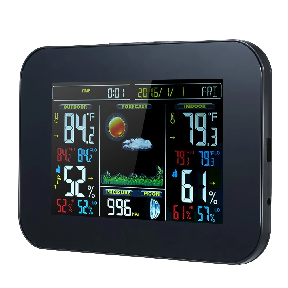 EU Plug Wireless Weather Station Color Weather Clock Indoor and Outdoor Temperature Hygrometer Radio Weather Forecast TS-A99B
