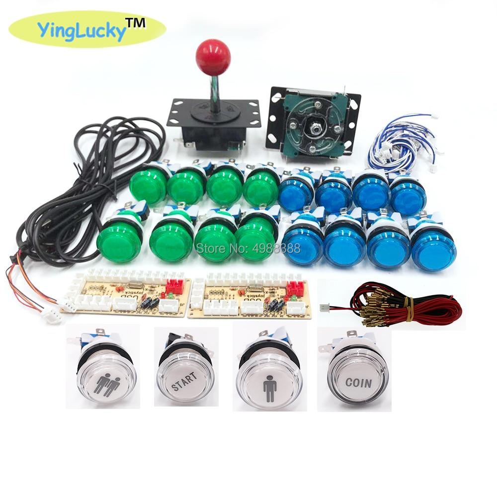 Arcade Joystick DIY zero delay pc USB & sanwa joysticks 2 Player Games  Accessories LED colored buttons Big round joystick