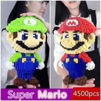 Super Big Size Super Mario Blocks Stitch Micro Building Blocks DIY Toys Cute Cartoon Juguetes Action Figures Kids Gift