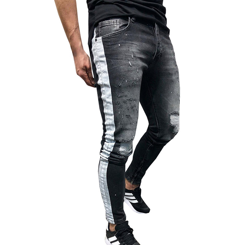 New Fashion Skinny Jeans Men Hip Hop Stripe Ripped Elastic Slim Fit Jeans Male Stretchy Pants  Black