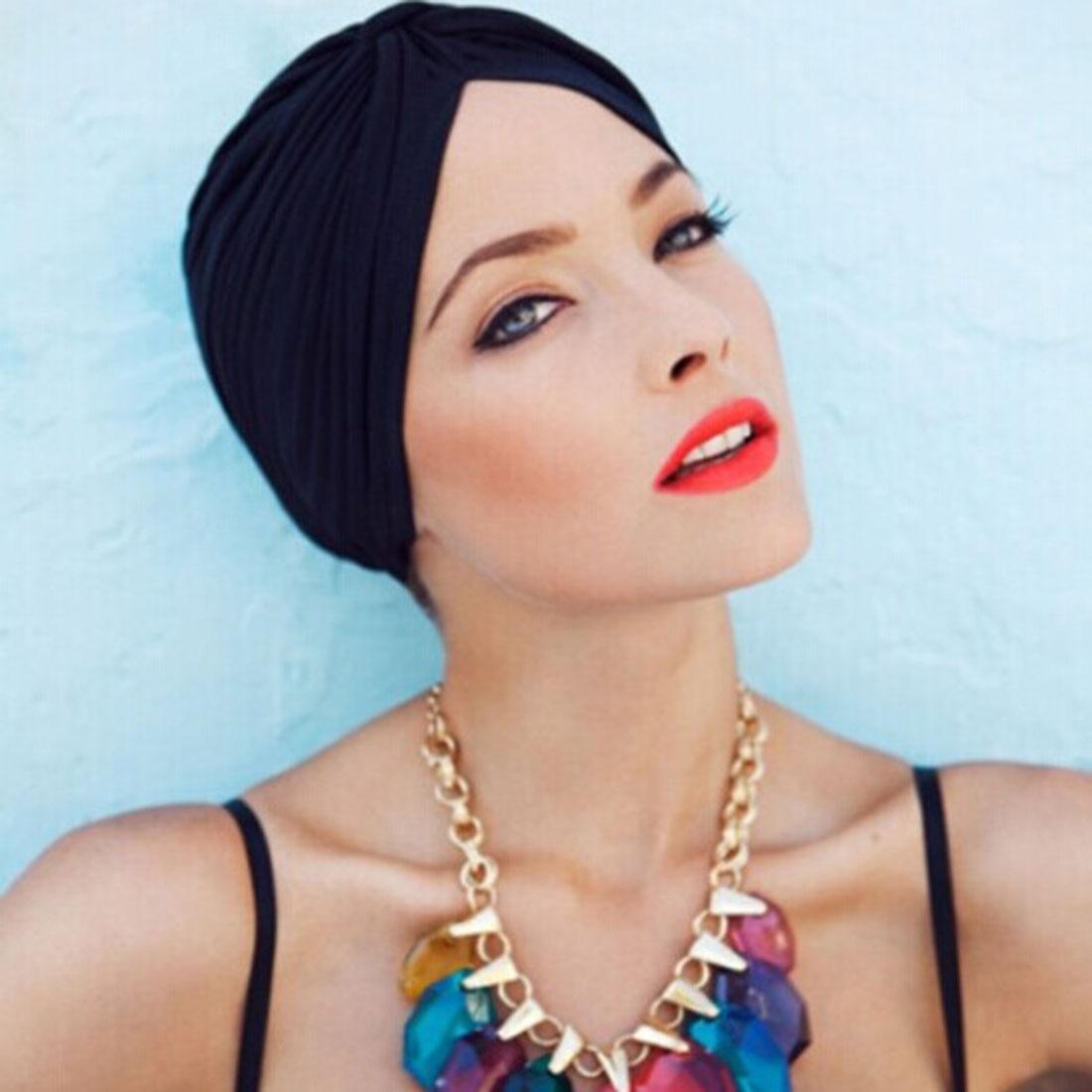 Stretchy Turban Muslimischen Hut frauen Hut Mode Feste Bandage Bandanas Stirnband Wrap Chemo Hijab Verknotet Indischen Cap Haar Verlust hut