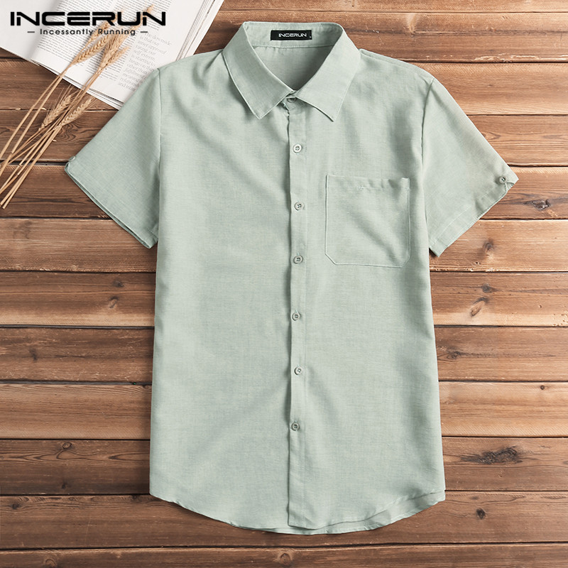 Fashion Male Short Sleeve Men's Shirt Dress Tops Male Shirts Button Down Lapel Collar Summer Men Shirts Chemise Camisa Masculina