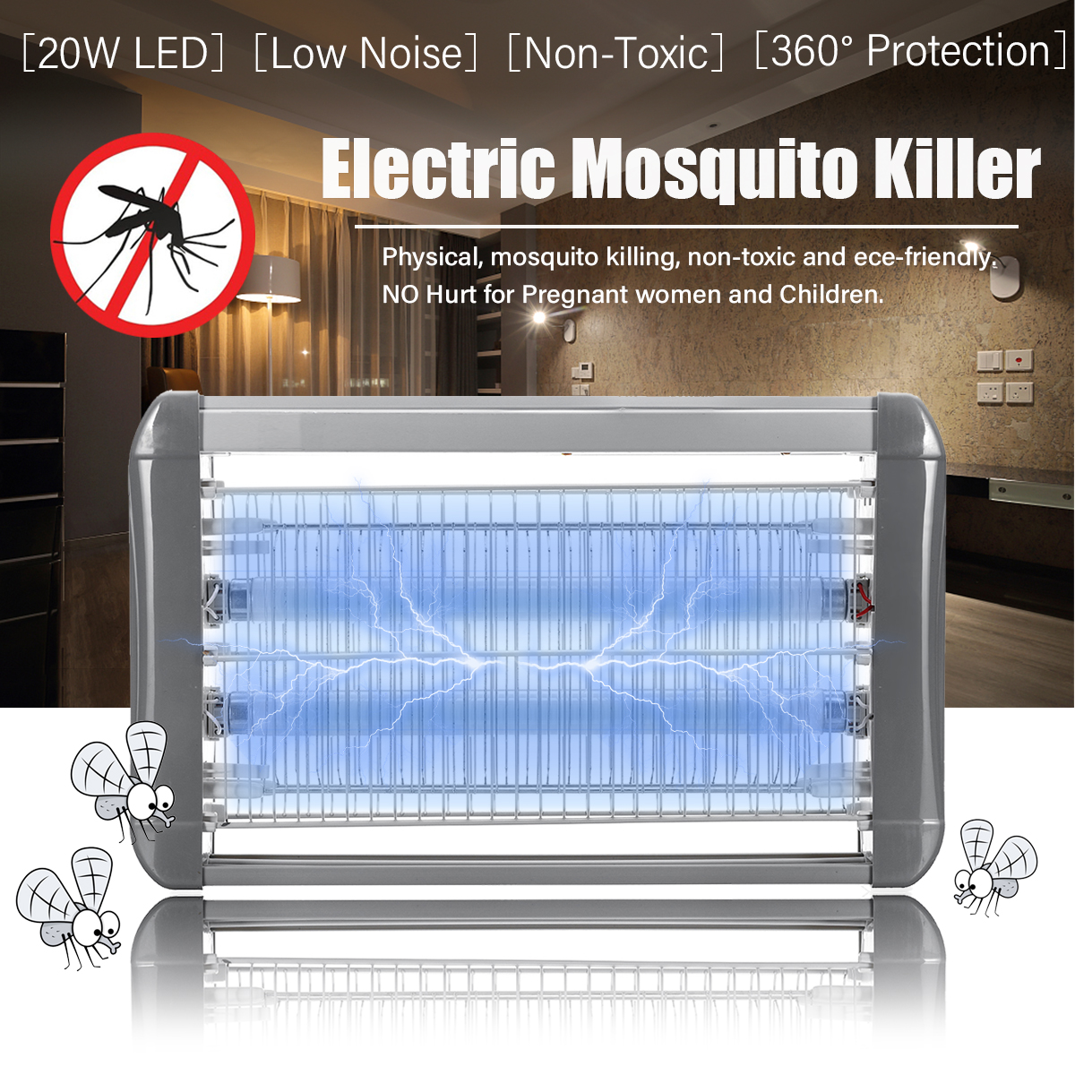 20W 220V Electric Mosquito Killer Lamp Indoor LED Light Bedroom Outdoor Garden Anti Insect Killing Wasp Bug Fly Zapper Traps20W 220V Electric Mosquito Killer Lamp Indoor LED Light Bedroom Outdoor Garden Anti Insect Killing Wasp Bug Fly Zapper Traps