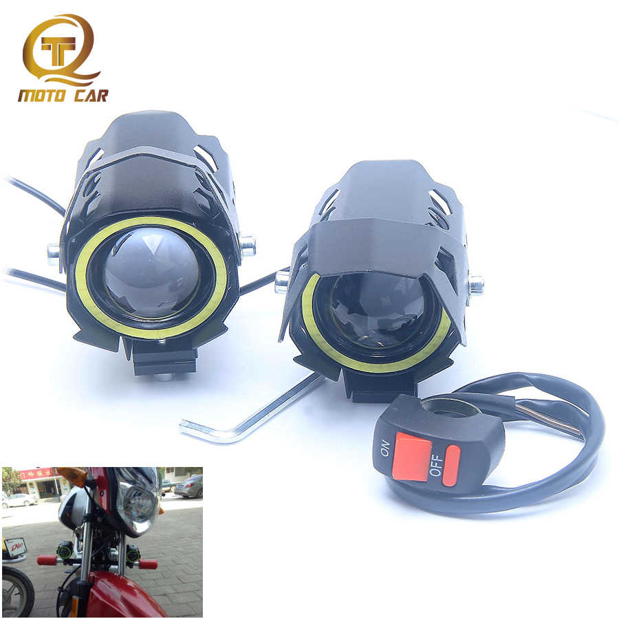 2pcs Universal Motorcycle Headlight U9 Angel Lantern Laser Cannons 12-80V Spotlight LED Light Refit Motorbike Laser Gun Switch