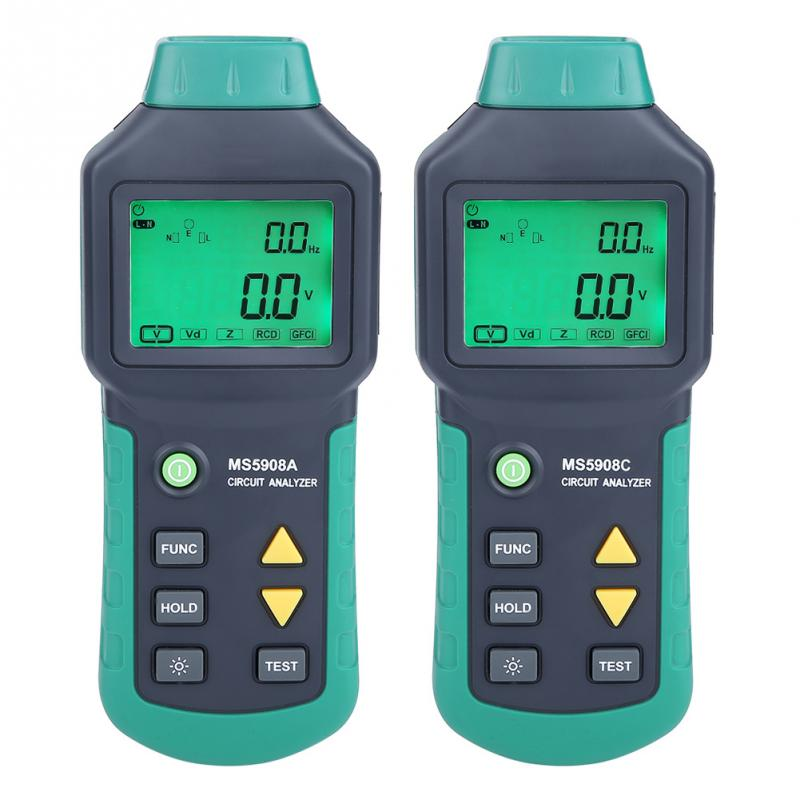 AC100-240V MASTECH MS5908A/MS5908C LCD Circuit Analyzer Tester With Voltage GFCI RCD Tester Socket Tester