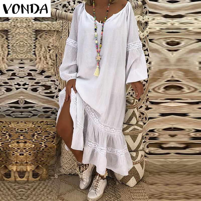 VONDA Böhmischen Frauen Maxi Kleid 2019 Herbst Casual V-ausschnitt Lange Laterne Hülse Solide Lose Kleider Weibliche Vestidos Plus Größe 5XL