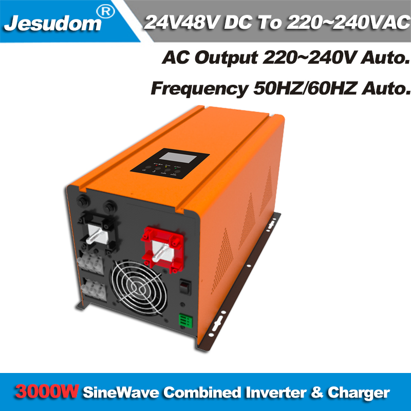 Pure Sine Wave 3000W Solar Inverter of Off grid DC 12V24V48V to AC220V230V240VAC with AC charger