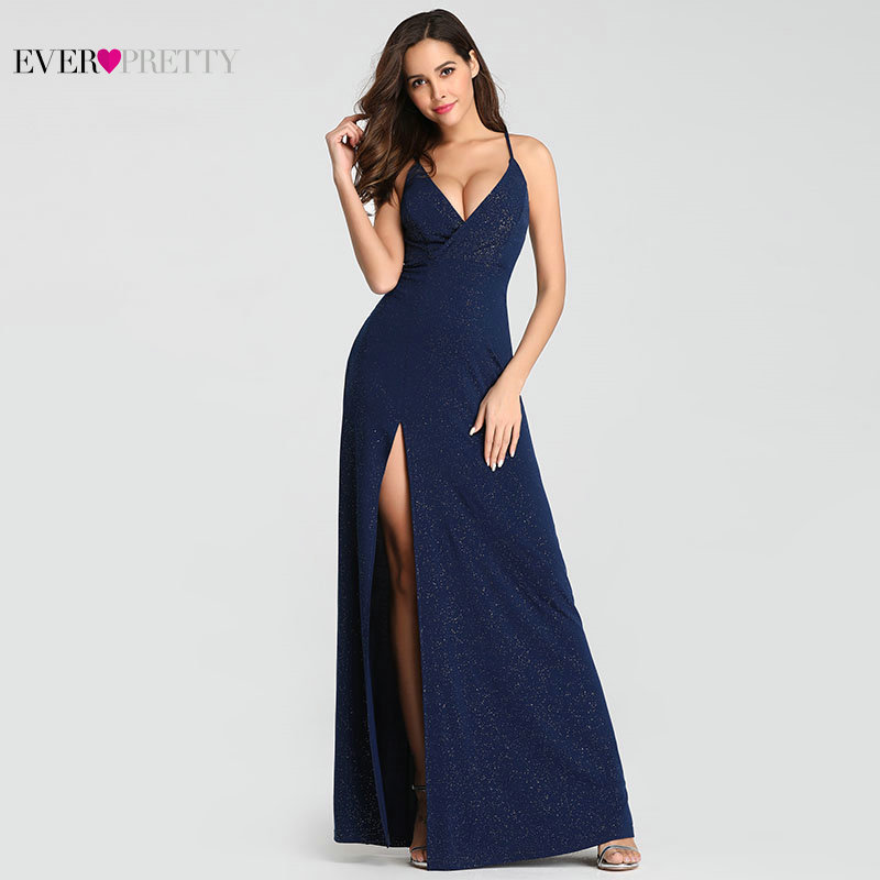 Ever Pretty 2019 Sexy Navy Blue   Prom     Dresses   Sexy V-Neck Sparkle Leg Slit Long Simple Elegant Formal Party Gowns Abendkleider