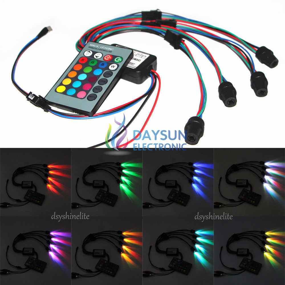 4pcs 5mm Round Head DC 12V RGB Light Flash LED Decorative Lighting Bulbs for Car