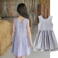 Pockets Dresses For Girls Baby Cotton Kids Sundress Grey Big Girls Princess Dress Clothes Summer 2019 New Children Clothing