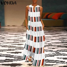 VONDA Women Striped Plaid Dress Sexy Sleeveless Patchwork V Neck Maxi Long Party Dresses Casual Loose Vestidos Plus Size S-5XL