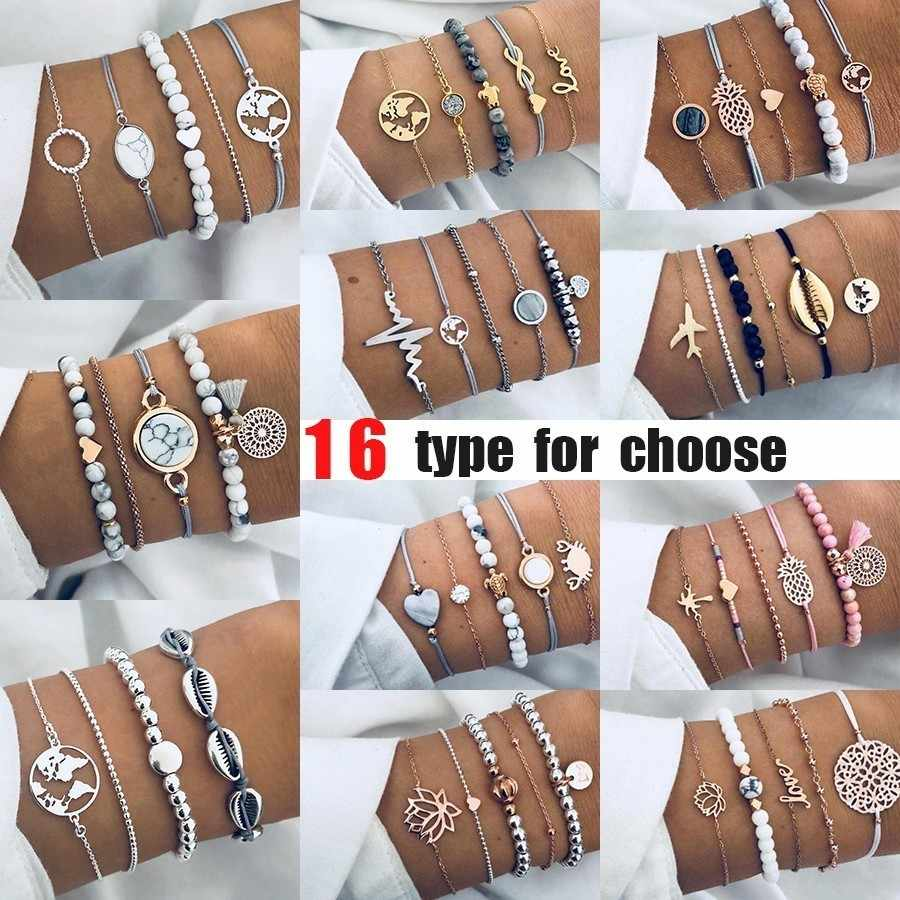 Fashion Charm Beads Multilayer Bracelets & Bangles for Women Infinity Heart Anchor Bracelet Femme Set Boho Jewelry Bijoux Mujer