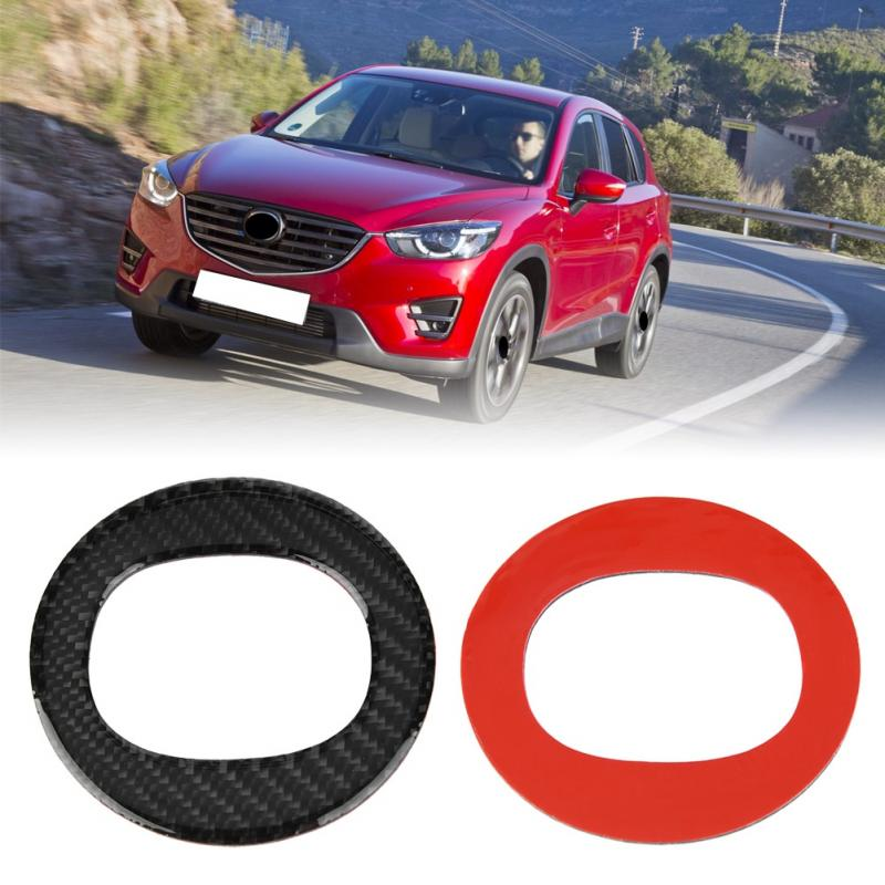 For Mazda CX-5 2017-2018 Real Carbon Fiber Interior Steering Wheel Cover Trim Round Sticker Car Steering Wheel Cover