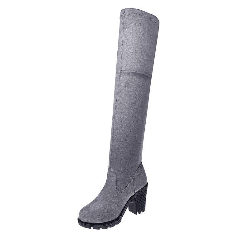 gray De Automne Bottes Overknee Grossier Hiver Femmes Étanche Chaussures D'hiver Black 7CqHP
