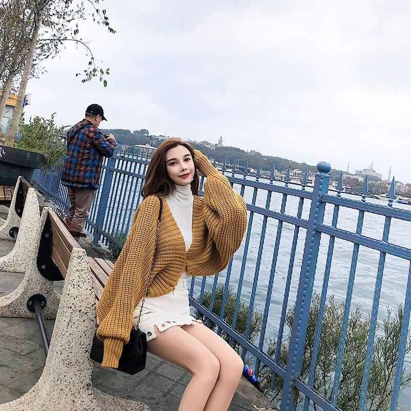 98a2be7aa3 Con Cinturones V Ropa En Wd01212m Vestido Linterna Sexy apricot Cintura  Lanmrem Yellow Nueva Suéter Tejer Moda 2019 De Cuello Corto Mujer Mangas  agzYqCx