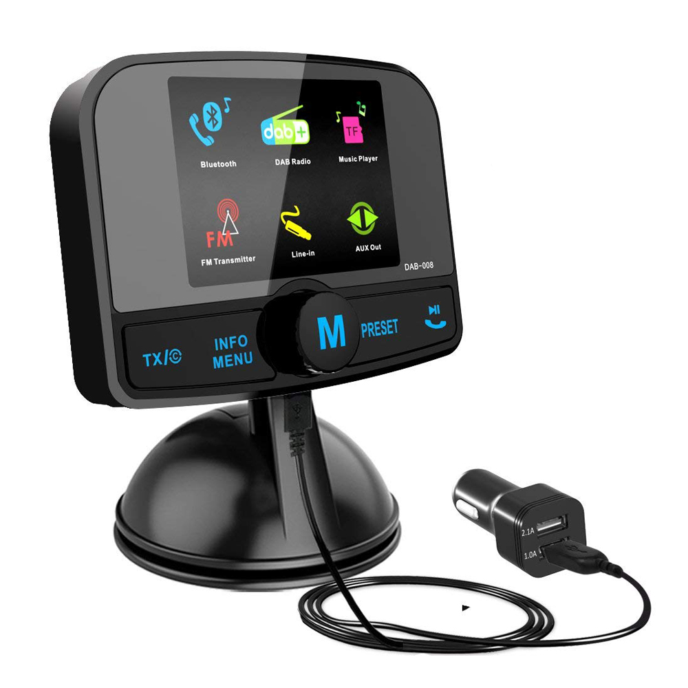 DAB/DAB + adaptateur radio pour voiture, autoradio avec bluetooth Mains Libres + DAB Émetteur + Transmetteur FM + Aux in/Out + TF Carte