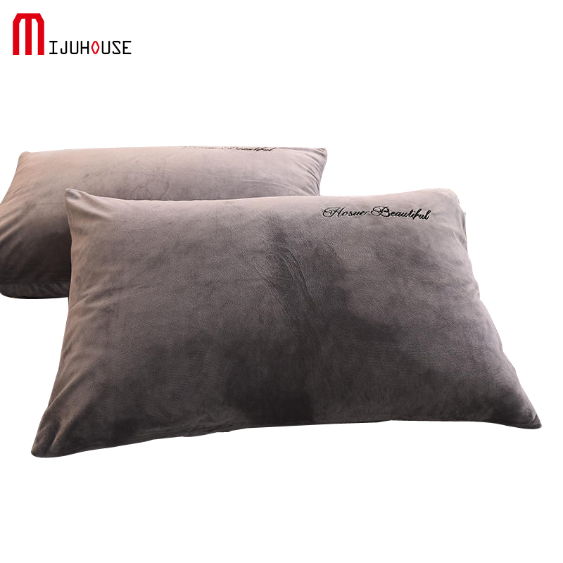 2PCS Letter Embroidery 100% Crystal Velvet Pillowcase  Solid Color Pillow Cover Super Soft Couple Pillow Case Gray
