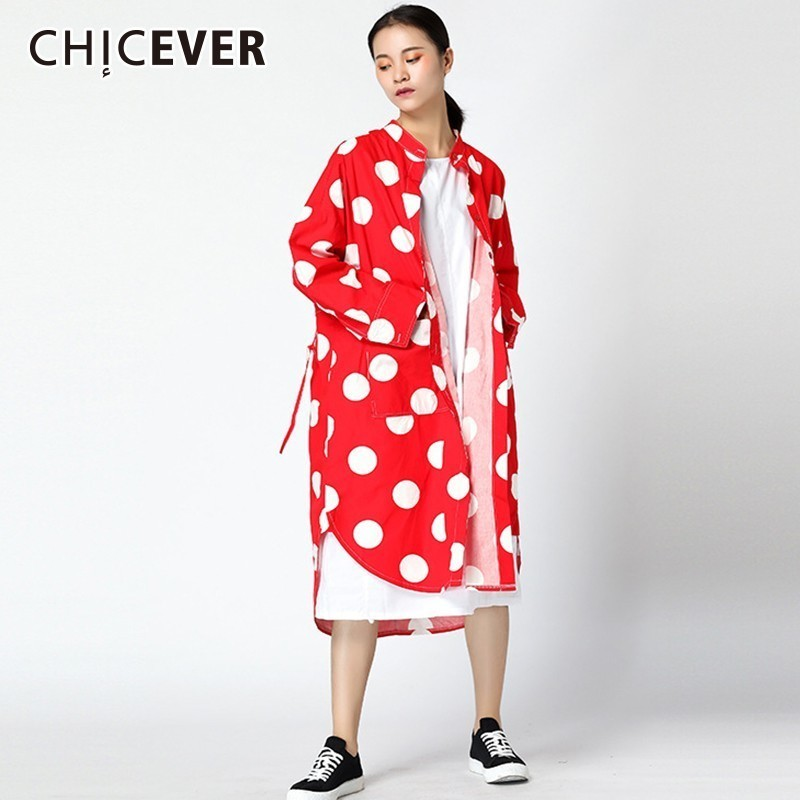 CHIEVER Polka Dot Trench Coat For Women's Windbreaker Long Sleeve Irregular Hem Loose Long Windbreaker Vintage Fashion Tide 2018