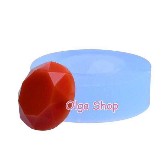 Molde de silicona de cabujón facetado redondo BYL056 para pendientes, joyería, collar, broche, herramientas de decoración de pasteles de resina, dulces
