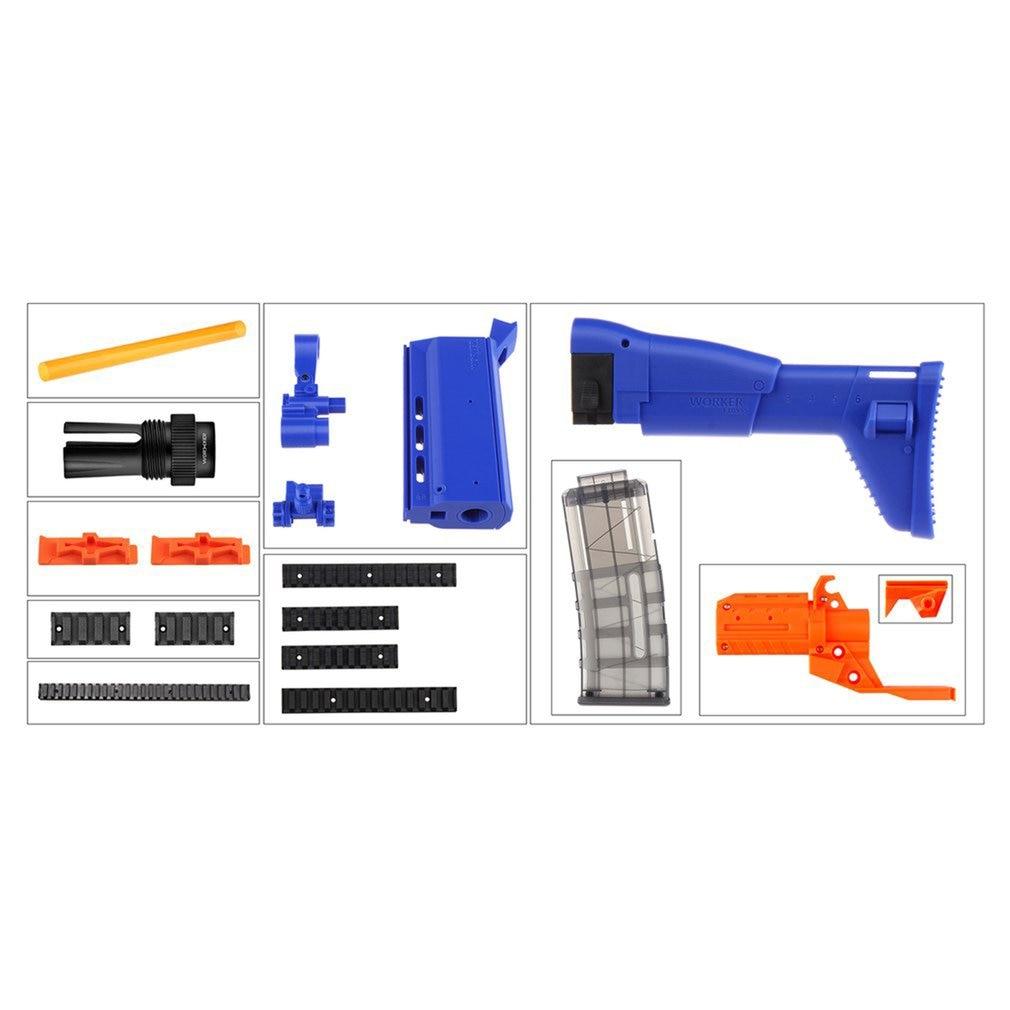 WORKER STF-W032 3D Printed Fn Scar Decoration Kits Set for Nerf N-Strike Elite Stryfe Blaster Blue Toy Gun AccessoriesWORKER STF-W032 3D Printed Fn Scar Decoration Kits Set for Nerf N-Strike Elite Stryfe Blaster Blue Toy Gun Accessories