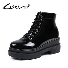 Liren Brand Ankle Boots Women Fashion Patent Leather Boots Winter Lace-up Thick Bottom Short Boots Platform Shoes for Women