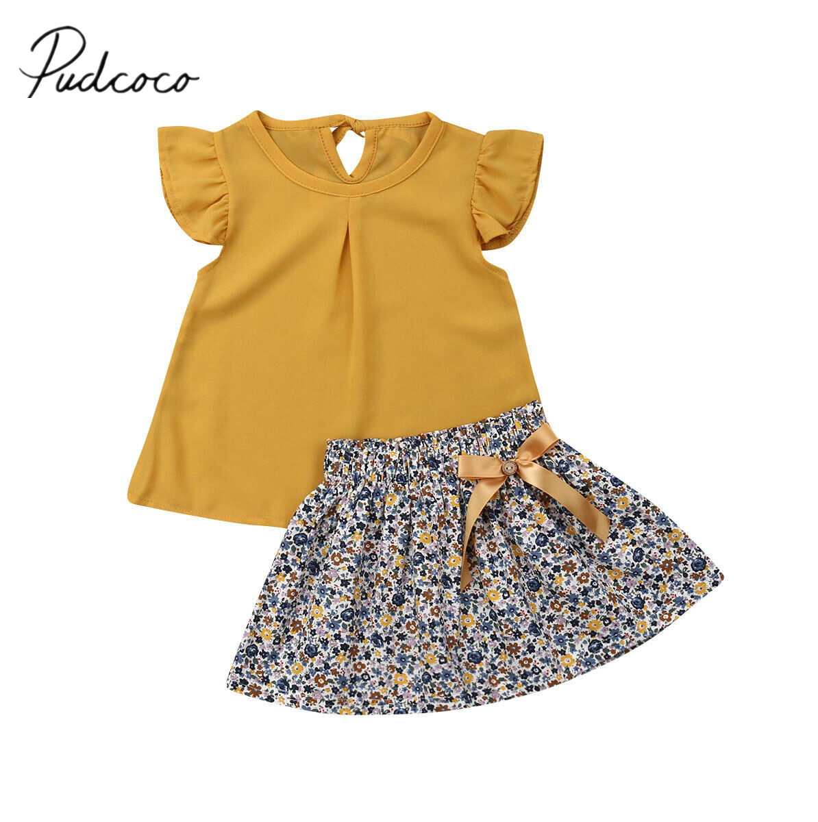 2019 Children Summer Clothing 1-5Y Toddler Kid Baby Girl Clothes Sets Yellow Chiffon Tops+Floral A-Line Skirt Outfits Clothes