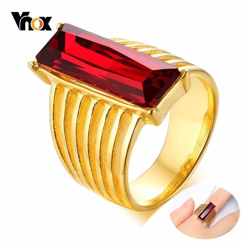 Vnox Geometric Rectangular Red Glass CZ Stone Engagement Rings for Women Beauty Stainless Steel Gold Tone Female Lady Accessory