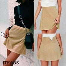 2019 Newest Hot Women Girls Ladies Skirts Solid High Waist Hip Half Short Mini Short Zip A-Line Skirt