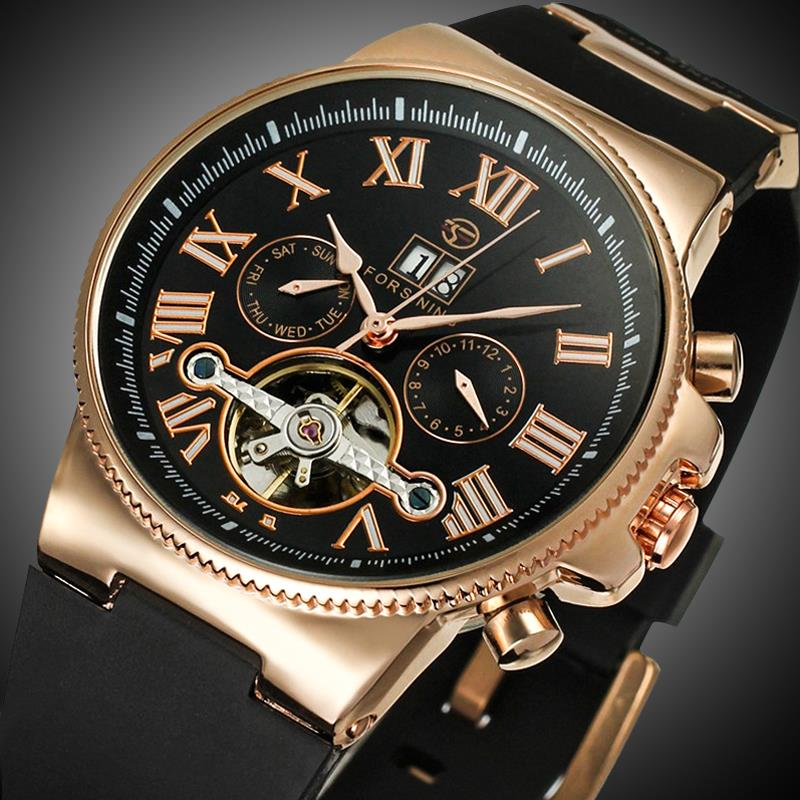 FORSINING Rubber Band Sport Watches Rose Gold Case Tourbillion Designer Watch Male Automatic Mechanical Mens WatchFORSINING Rubber Band Sport Watches Rose Gold Case Tourbillion Designer Watch Male Automatic Mechanical Mens Watch