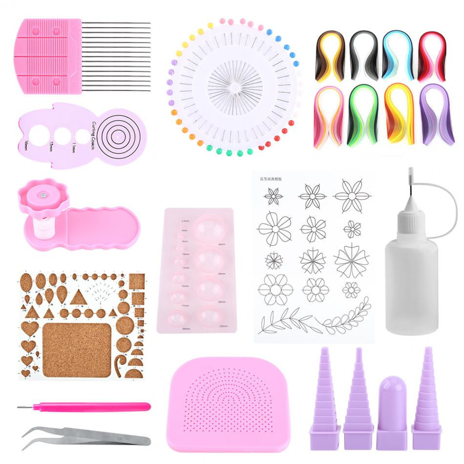 Hot Sale DIY Paper Quilling Handmade Tools Set Template Tweezer Pins Slotted Tool Kit Paper Card Crafts Decorating Tools Artwork