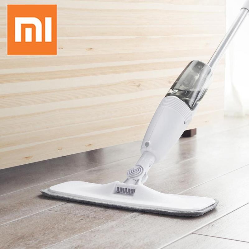 Original Xiaomi Deerma Water Spraying Sweeper Mijia Floor Cleaner Carbon Fiber Dust Mops 360 Rotating Rod 350ml Tank Waxing Mop(China)