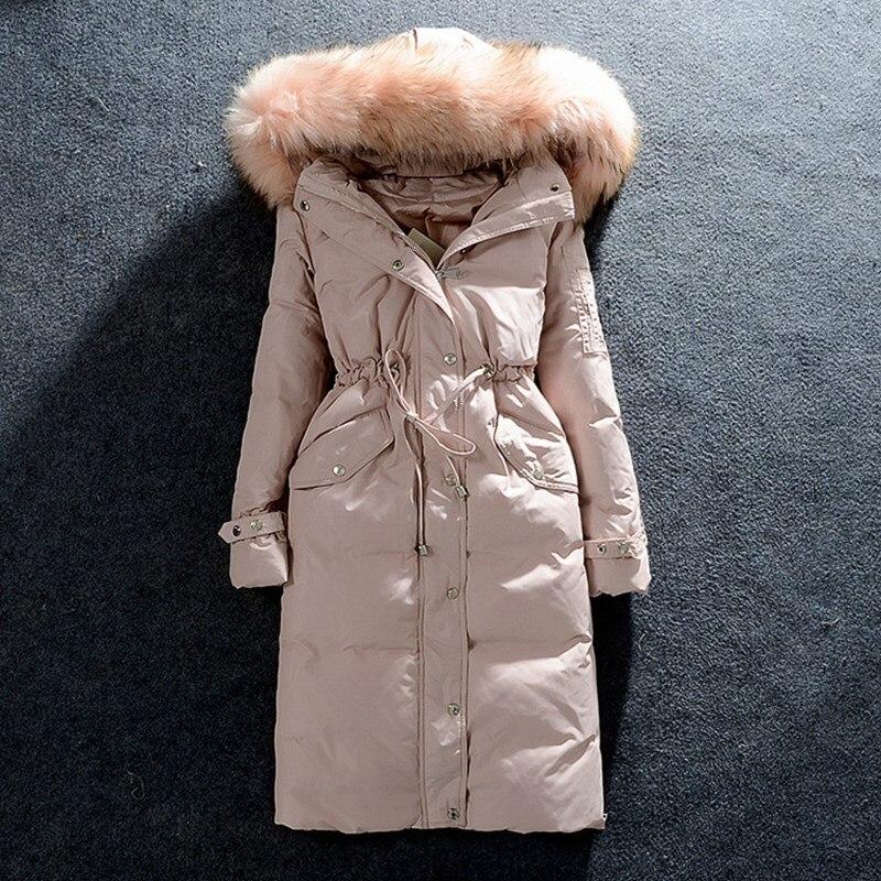 Noir Col De Veste Parkas gris Manteau Zipper Réel rose Grand blue2 black1 Femelle D'hiver Longue black2 pink2 Duvet Femmes Canard bleu Fourrure gray1 xrqqXI6w