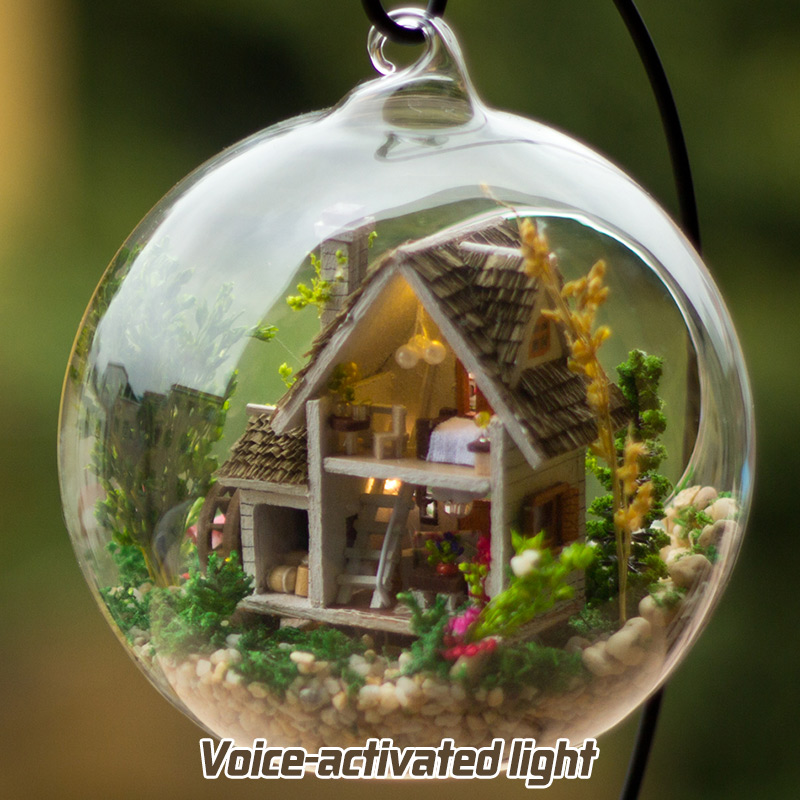 DIY Wooden House Miniaturas With Furniture DIY Miniature Glass Ball House Dollhouse Toy For Children Christmas Gift Forest House