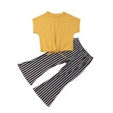 019250b24 2-7Y moda niños de manga corta bebé niña camiseta amarilla Tops rayas  vaqueros pantalón Bell Fondo 2 piezas ropa de verano conju.