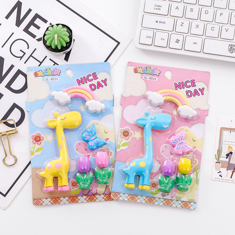 5Pcs Animal Pencil Eraser Office School Creative Stationery Supplies Giraff Rubber Kawaii Kids  Writing Drawing Rubber Tools
