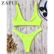 ZAFUL Women Set Solid color High Cut Scoop Neck Set Two Pieces Set Beach Wear Casual Outfits Female Crop Top Sunwear 2019(China)