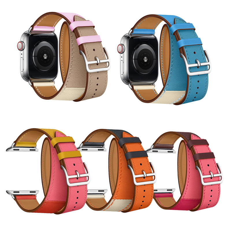 Watch Band For Apple Watch Series 4 40/44mm Real Leather Strap Doule Tour Watchband For Apple Series 3 2 1 Herm Wrist BraceletWatch Band For Apple Watch Series 4 40/44mm Real Leather Strap Doule Tour Watchband For Apple Series 3 2 1 Herm Wrist Bracelet