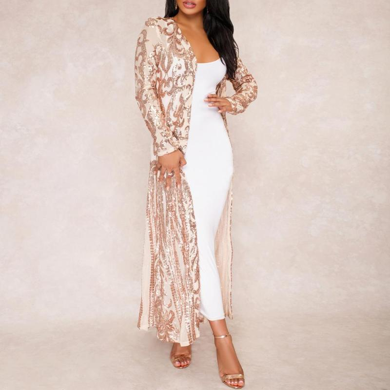 Women Sequins Perspective Long Sleeve Sexy Club Cardigan Open Front Clothes
