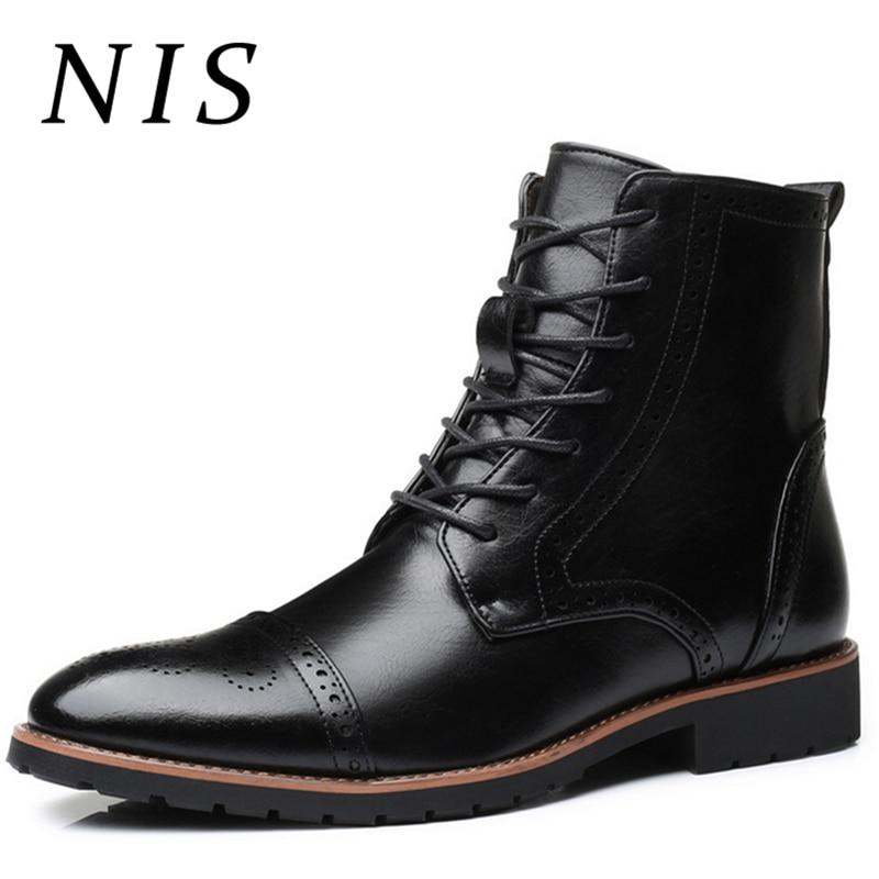 NIS Big Size 39 48 Winter Men Boots Retro Brogue Style Oxfords PU Leather Shoes Men