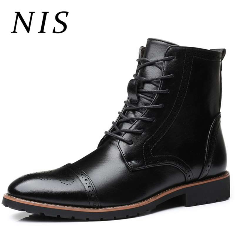 NIS Big Size 39 48 Winter Men Boots Retro Brogue Style Oxfords PU Leather Shoes Men Pointed Toe Lace Up Ankle Boots Man Booties-in Motorcycle boots from Shoes    1