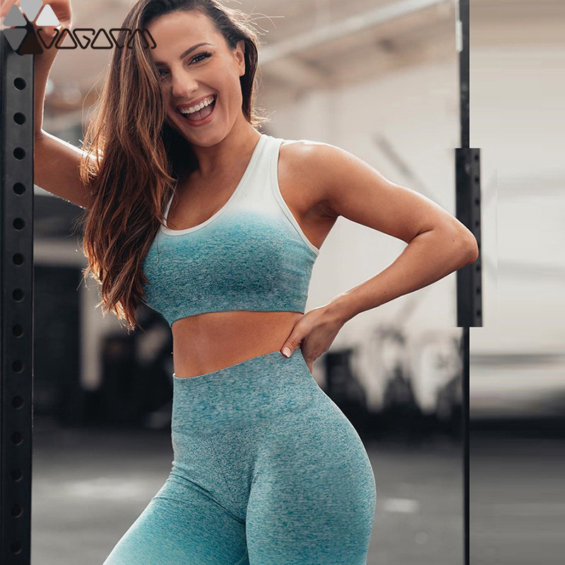 Women Yoga Set Gym Clothing Ombre Seamless Leggings Cropped Shirts Workout Sport Suit Women Fitness Set Active Two Piece Wear in Yoga Sets from Sports Entertainment