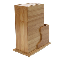 Multi Purpose Bamboo Tool Holder Knife Rack Kitchenware Portable Blocks With Non Skid Rubber Feet For Different Size Knife