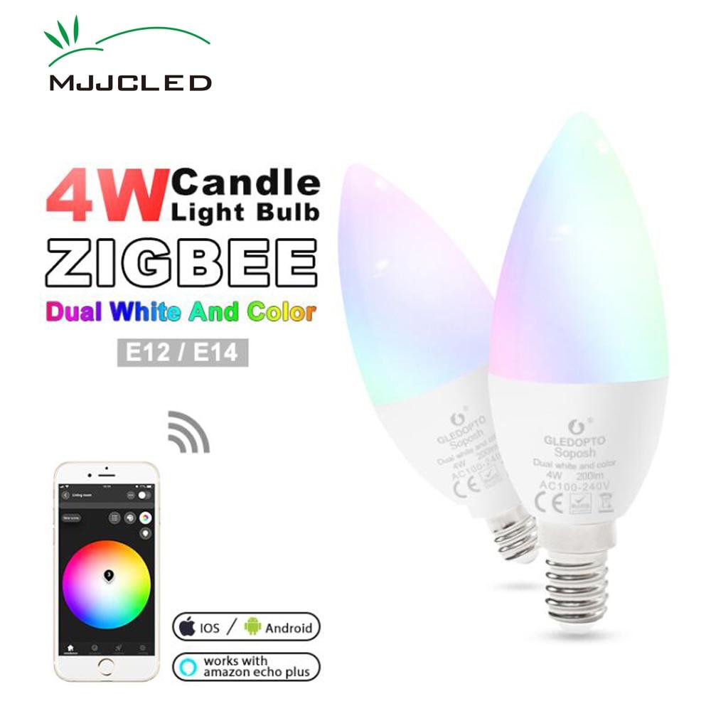 Zigbee ZLL Candle LED Light Bulb E14 E12  4W RGBCCT RGBW RGBWW CW Smart APP Control 110V 220V 230V 240V Work with Amazon Echo