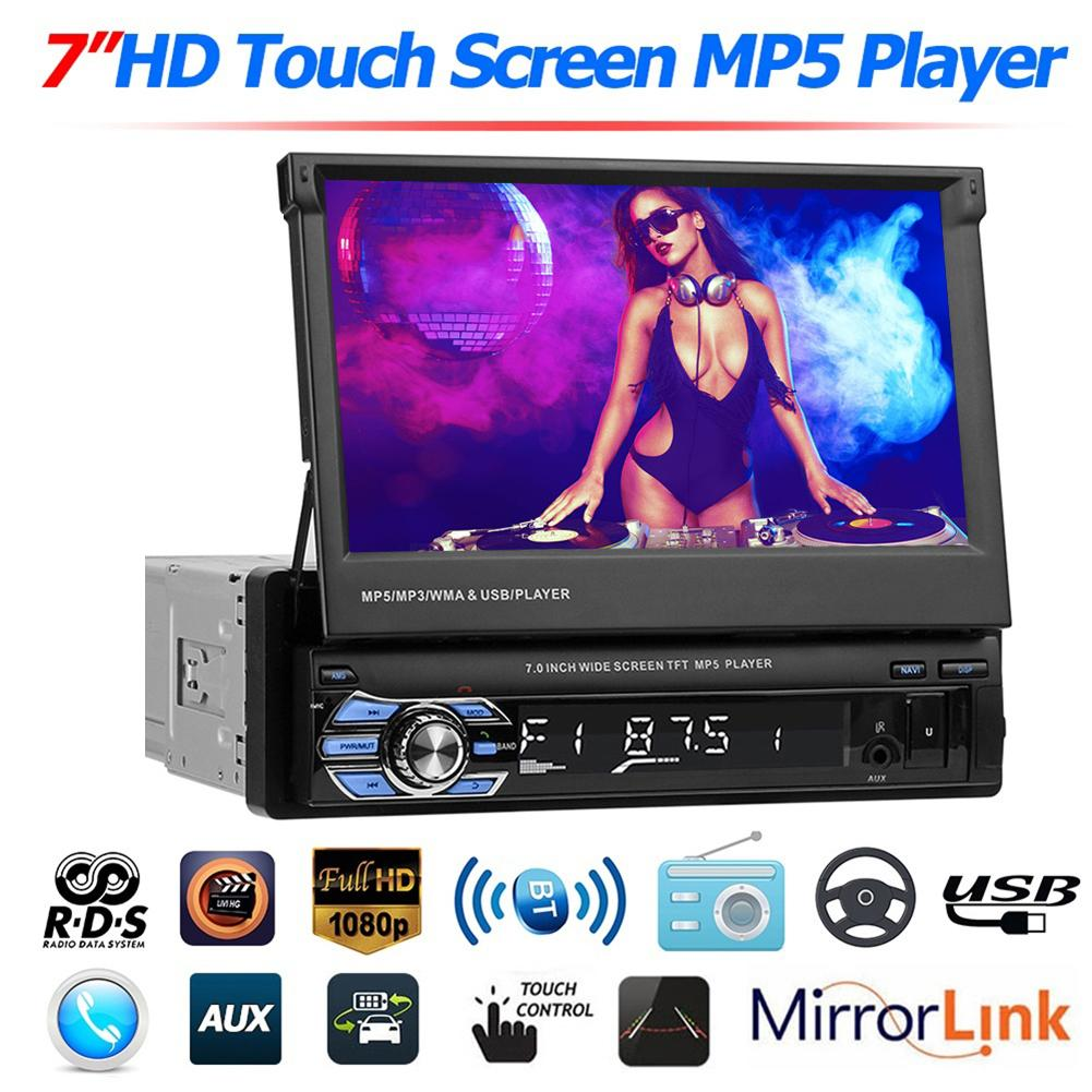 7 Inch Car MP5 Player Stereo RDS AM FM Radio GPS Navigation Retractable 1 DIN Car MP5 Touch Screen USB Bluetooth Car MP5 Player image