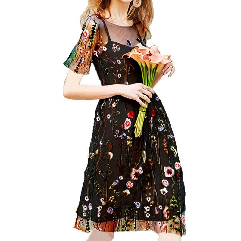Women Dress Vintage Summer Short Sleeve High Waist A-Line Casual Short Loose Short Sleeve Floral Embroidery Lace Mesh Midi Dress