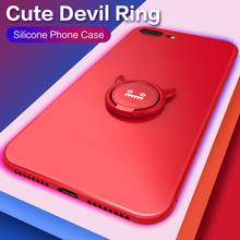 Silicone Case For iPhone 6 6S 7 8 Plus XS Magnetic Case Cute Devil For iPhone X XS Max XR Finger Ring Holder Phone Cover Coque цена и фото
