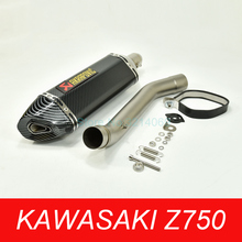 купить Kawasaki Z750 Escape System Universal Motorcycle 51mm Akrapovic Exhaust Pipe Carbon Fiber Muffler Stainless Steel Mid Link Pipe онлайн