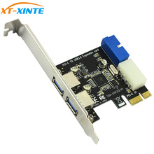 USB3.0 PCI-E Expansion Card Adapter Front External 2 Port USB 3.0 Hub & Internal 19pin Header PCIE Card 4pin IDE Power Connector